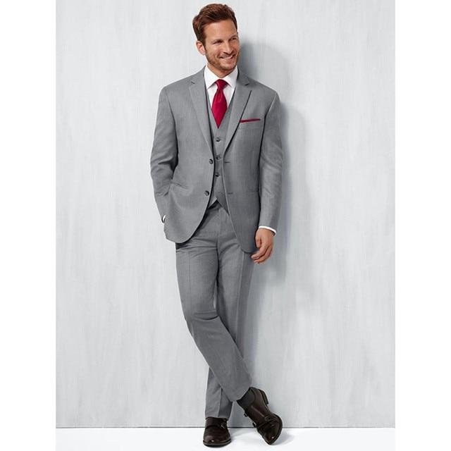 Por encargo hecho a mano 3 unids gris mens traje slim fit Esmoquin novios  Trajes boda a3cc52a5643