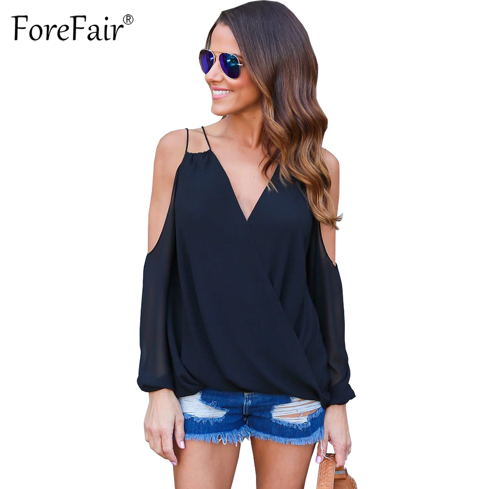 ForeFair 2017 Summer Off Shoulder Ruched Chiffon Blouse Blusas Mujer Plus Size Sexy Sling V-neck Women Tops ...