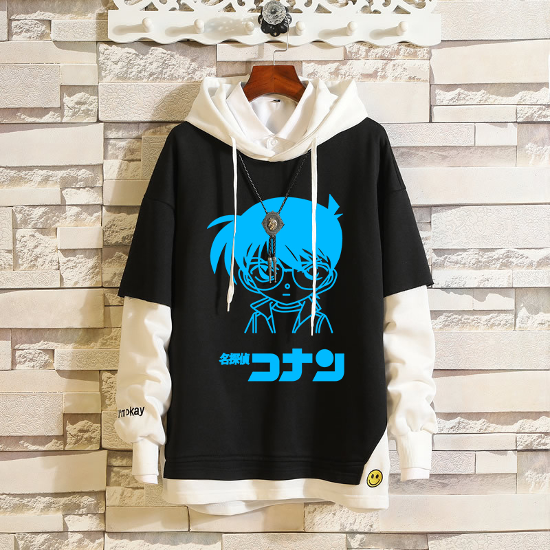 Anime Detective Conan Edogawa Case Closed Fake Two-Pieces Hoodies Pullover Hooded Sweatshirt Colorblock Hip-Hop Loose Streetwear