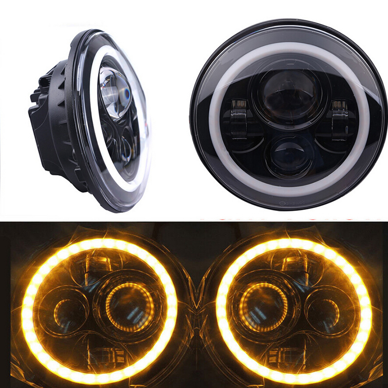 2PCS 7 Inch Round Motorcycle LED Headlight H4 H13 Hi Lo Headlamp Angel Eye DRL Turn Signal For Jeep Wrangler Harley Daymaker 7 inch round led headlight motorcycle led for jeep wrangler 7 inch 80w headlight round low hi beam headlamp for harley