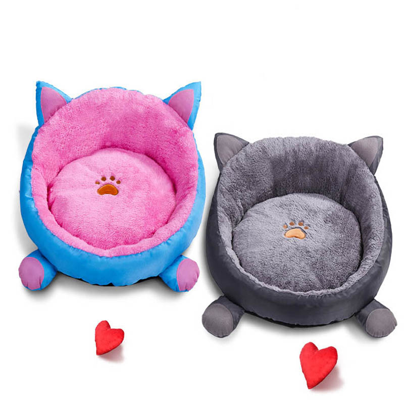 Round Pawprint Dog House for Small Dogs with Removable Mattress Cat Litter Nest Pet Playen Kennel Petshop Products mattress