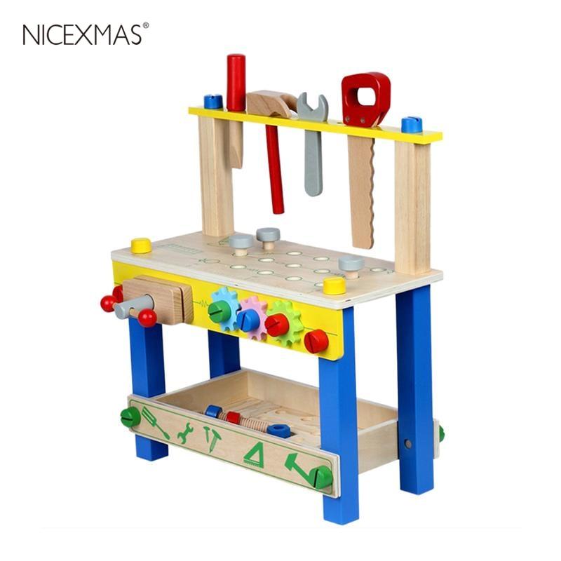 1 ensemble enfants en bois outil jouets banc réglable semblant jouer bâtiment ensemble hauteur atelier banc jouet pour enfants enfants en bas âge