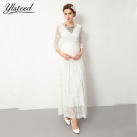 White Lace Maternity Dress For Photo Shoot Maternity Photography Props Sexy Maxi Dress Pregnancy Women Clothes