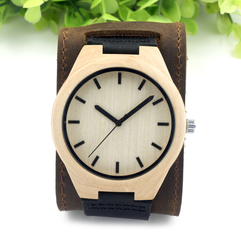 ФОТО BOBO BIRD Mens Top Brand Mapel Wood Watches Chicago Bracelets Genuine Leather Bands Straps With Gift Box Drop Shipping Relog