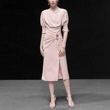 Seifrmann 2019 Women Summer Dress Runway Fashion Designer Lantern Sleeve Draped Button Elegant Slim Ladies Office Dresses