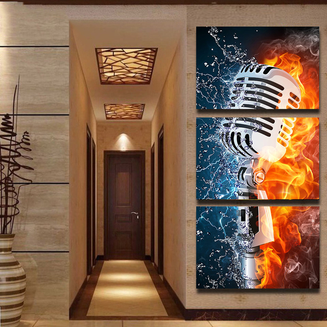 Modular HD Printed Canvas Painting Frame Wall Home Decor Poster 3 Pieces Microphone Abstract Flame Water Art Modular Picture TYG