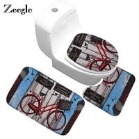 Zeegle Batheoom Carpet Toilet 3Pcs Mat Set Bath Mat Non slip Bath Rugs Bathroom Floor Mats Shower Room Carpet Bathroom Mat