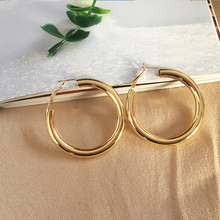 Big Vintage Gold Hoop Earrings for Women Silver Color Round Statement Earring Metal Wedding Party Accessory