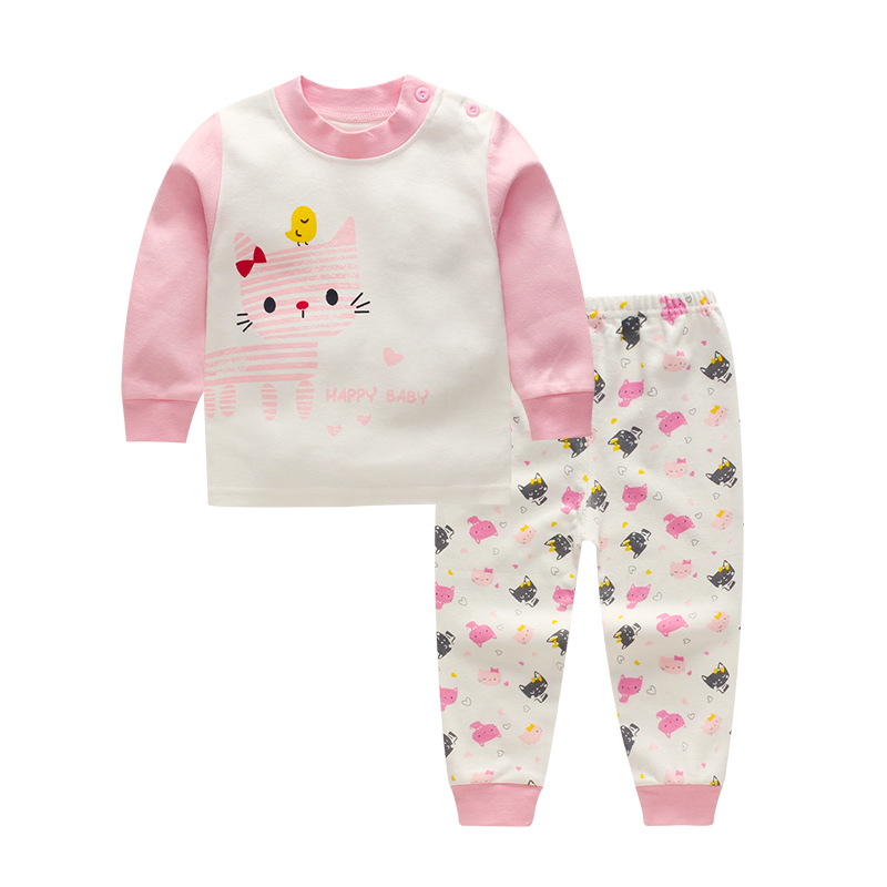2017 Children Boy Girls Fashion Clothing Suits Baby T-shirt Pants 2Pcs Sets Active Kids Pink Cat Clothes Toddler Tracksuits 8t5t spring autumn children boy girls clothes baby hoodies t shirt and pants 3pcs suits fashion kids clothing sets toddler tracksuits