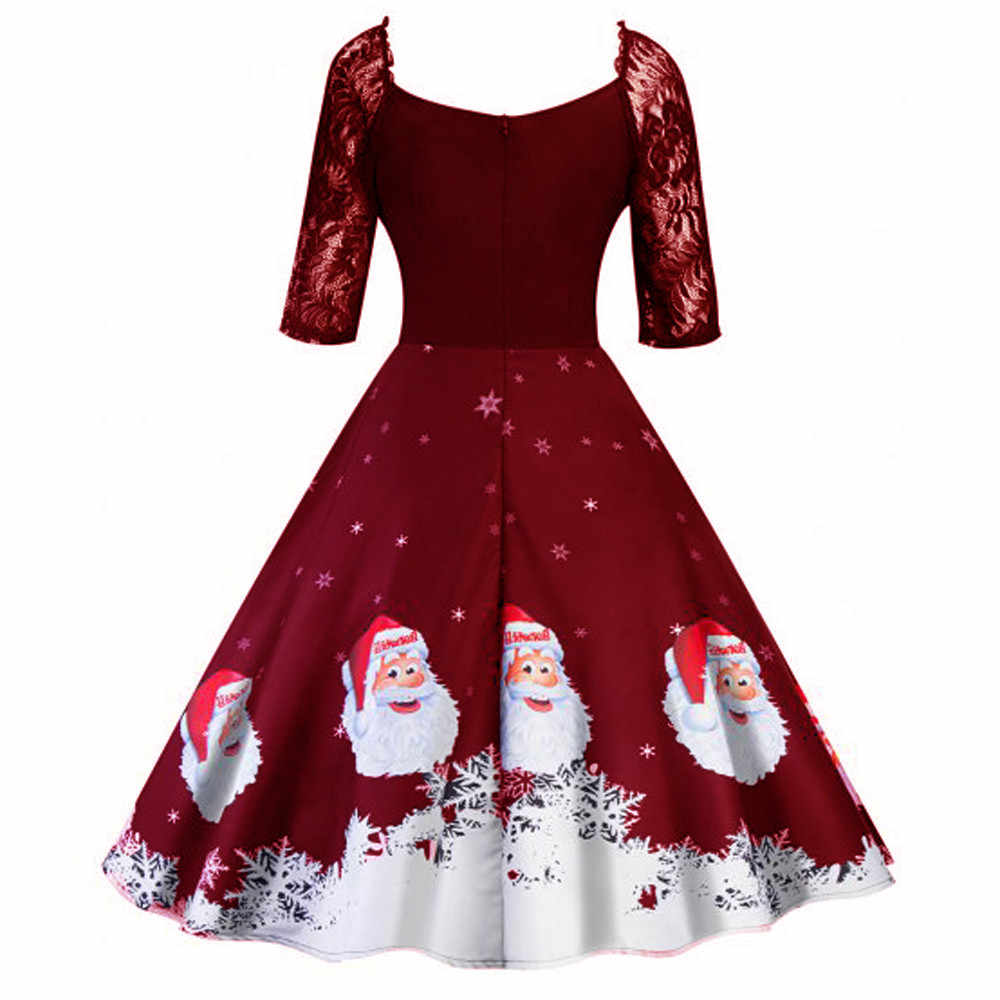 ... Christmas Women Half Sleeve Lace Patchwork Printing Vintage Gown Party Dress  christmas dress women vetement femme d79fdcf45a22