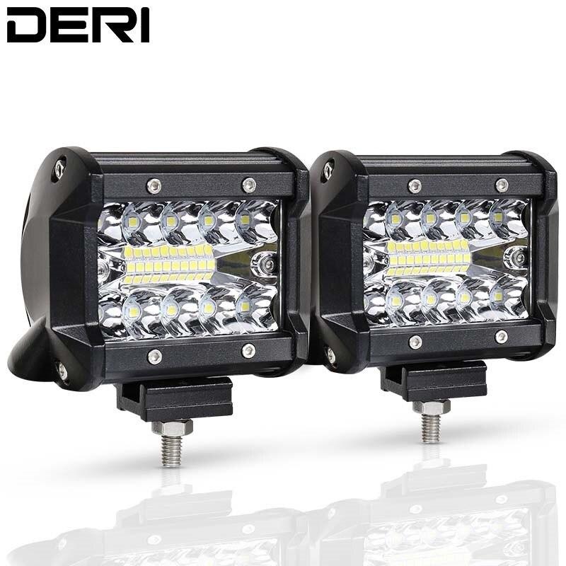 4 inch 60W Super Bright LED Work Light Bar 12V 24V Spot Flood Lights for Trucks Led Fog for Offroad Boat Mining Car ATV SUV UAZ