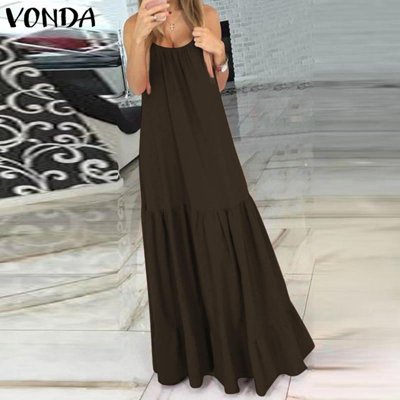 VONDA Bohemian Dress Women 19 Summer Sexy Sleeveless Spaghetti Strap Ruffle Swings Maxi Long Dresses Holiday Vestido Plus Size 8