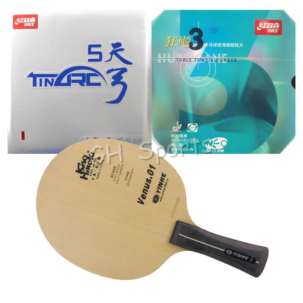 Pro Table Tennis PingPong Combo Racket Galaxy Venus.1 with DHS TinArc 5 and NEO Hurricane 3 shakehand long handle FL pro table tennis pingpong combo racket galaxy w 6 with tuttle beijing ii and dhs neo hurricane 3 long shakehand fl