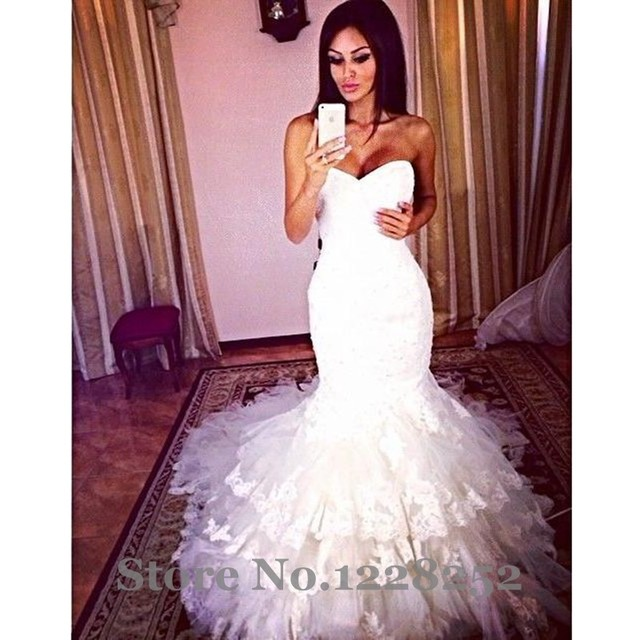 Sexy Lace Mermaid Wedding Dresses 2017 White Tulle Wedding Gowns Sweetheart Beaded Appliques