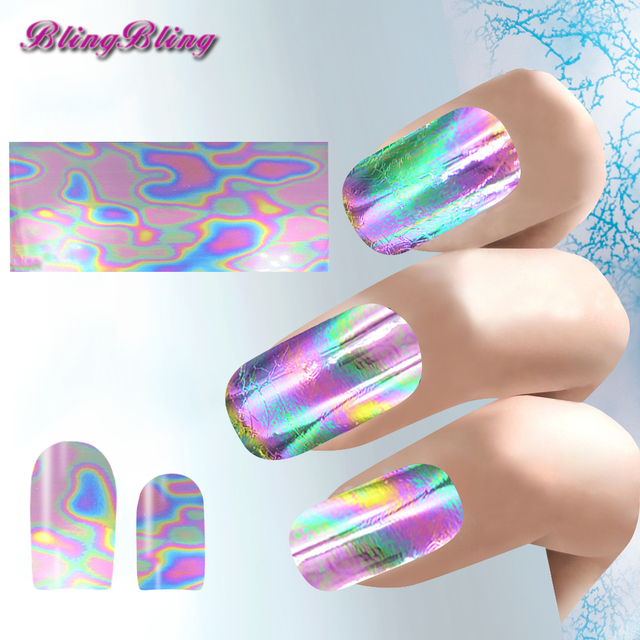 Blingbling 3pcs Holo Iridescent Foil Nail Sticker Decal Galaxy Nail Art  Transfer Stickers Wraps DIY Fancy - Blingbling 3pcs Holo Iridescent Foil Nail Sticker Decal Galaxy Nail