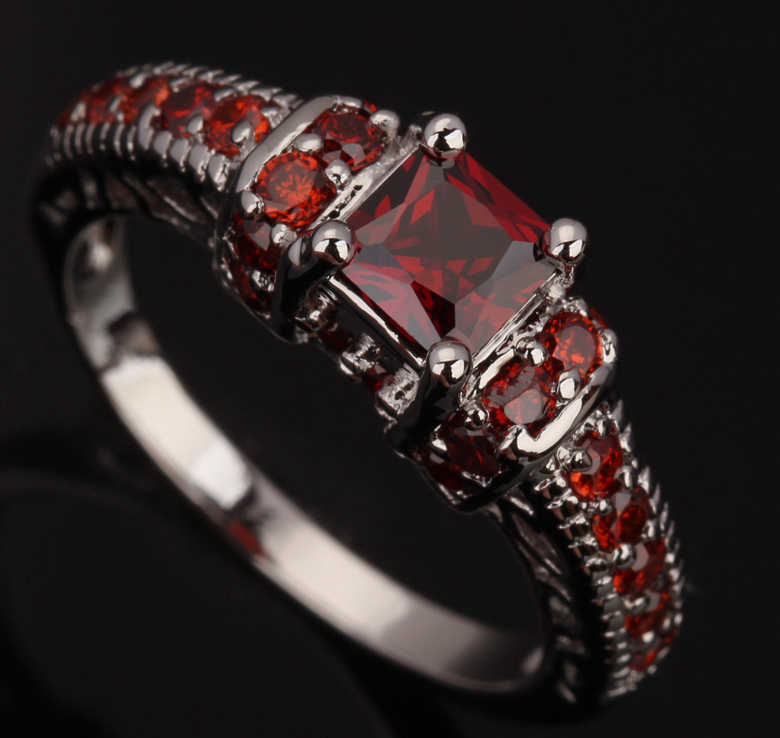 Nice Red Garnet 925 Sterling Silver Rare Jewelry Sales Size 6 / 7 / 8 / 9 S0380