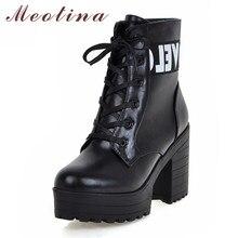 e711ed9a Botas hasta el tobillo de Meotina botas de Invierno para mujer botas cortas  de tacón cuadrado con cordones plataforma zapatos de.