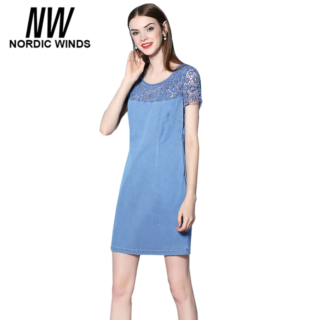 bca57aa9a1a Vents nordiques Denim D été Robes Femmes Plus Taille 4XL Vintage Patchwork  Évider Dentelle Robe