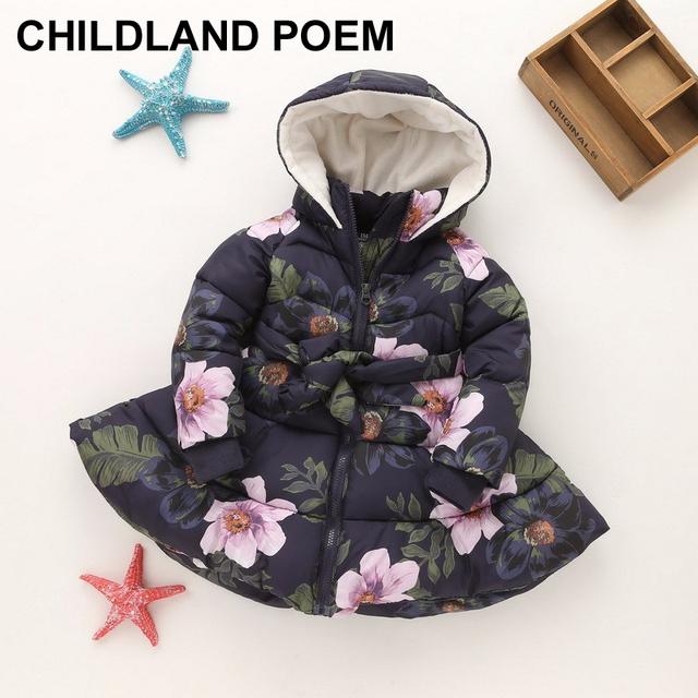 Meninas casaco de inverno das Crianças para baixo casaco Jaquetas Flor jaqueta de Roupas Quentes para as meninas Roupa da princesa do bebê meninas casaco 2-9Y