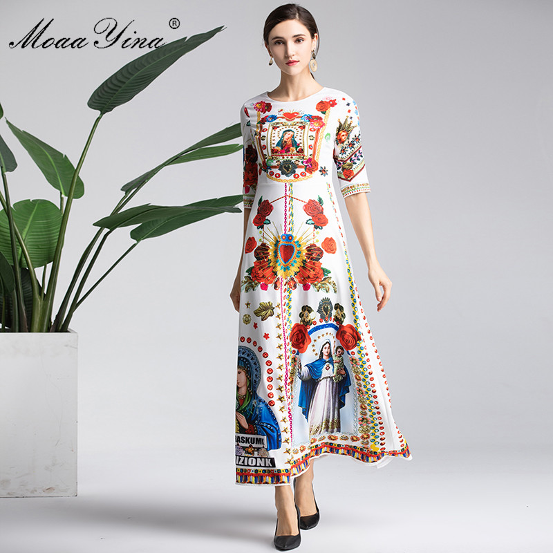 MoaaYina Fashion Designer Runway Dress Spring Women Half sleeve Vintage Floral Print Slim Vacation Elegant Dresses