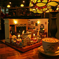 Assembling DIY wooden dollhouse	 / coffee shop  doll house  miniatures model with furniture LED light music dust cover