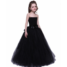 Girl Pageant Evening Tutu Dress With Floral Ribbon Ankle Length Black Elegant Princess Girls Tutu Fluffy Dress For 1-12Y