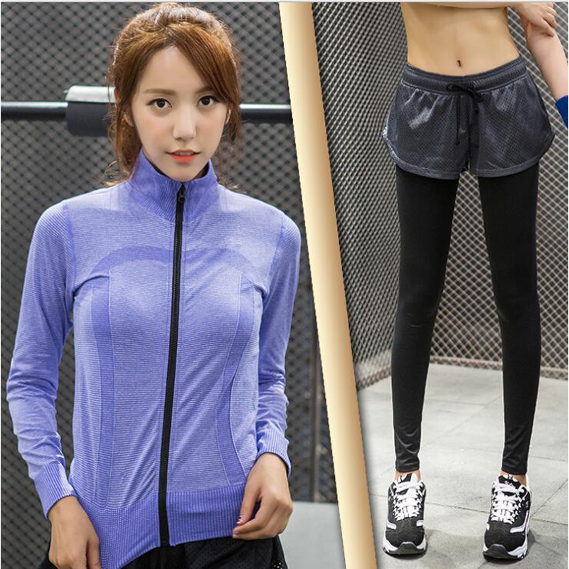 2017 Yoga Aptidão Duas Mulheres Fall New Long-sleeved Gola Pure Color  Esportes E Ternos de Lazer Sportswear Qs33set-wt11 + jf 80c0d4546db8e