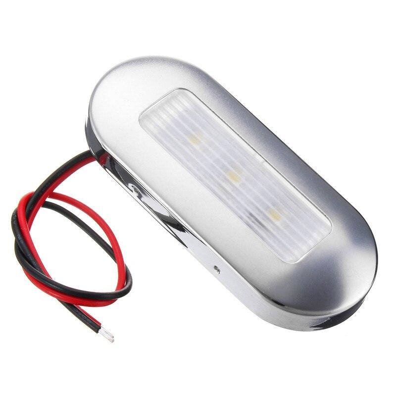 Weiß 3 LED Oblong Oberflächenmontage Courtesy Accent Light für Marine