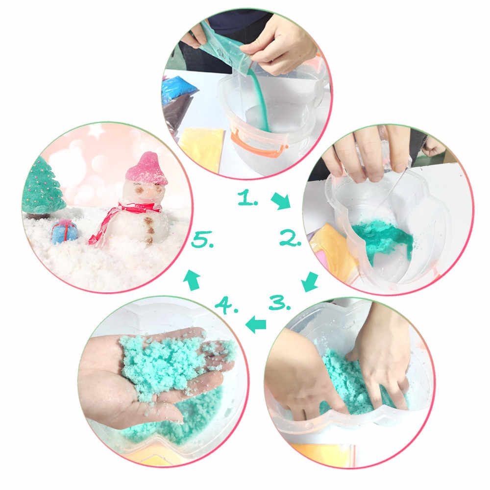 50g Instant Snow Powder Fluffy Absorbant Magic Prop Artificial Snow Xmas Kid DIY Clear Slime Antistress Putty Clay Dropshipping