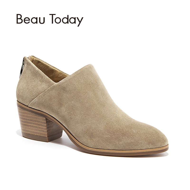 BeauToday Women Boots High Heel Round Toe Zipper Handmade Genuine Leather Cow Suede Ankle Boot Spring Autumn Lady Shoes 03315 vinlle women boot square low heel pu leather rivets zipper solid ankle boots western style round lady motorcycle boot size 34 43
