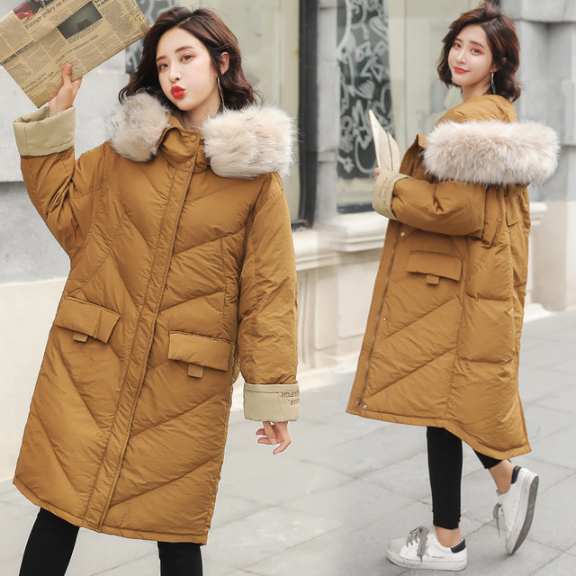 59d258dd94d Winter Big Fur Hood Long Down Coat Jacket Thick Warm Women Casaco Feminino  Abrigos Mujer Invierno Cotton Padded Wadded Parkas