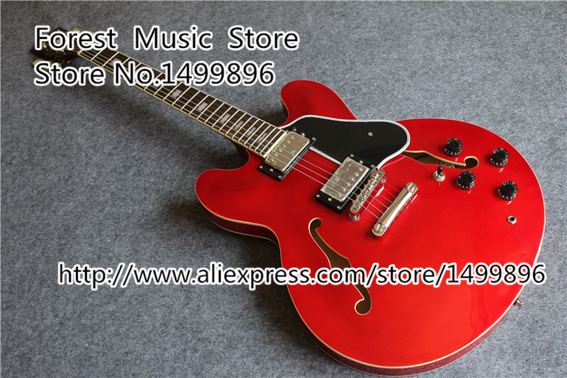 Hot Selling Red ES 335 Electric Guitarra Hollow Body China Guitar Free Shipping es 335 50th anniversary 1963 jazz es 335 semi hollow body electric guitar 5a quilt maple top gold hardware