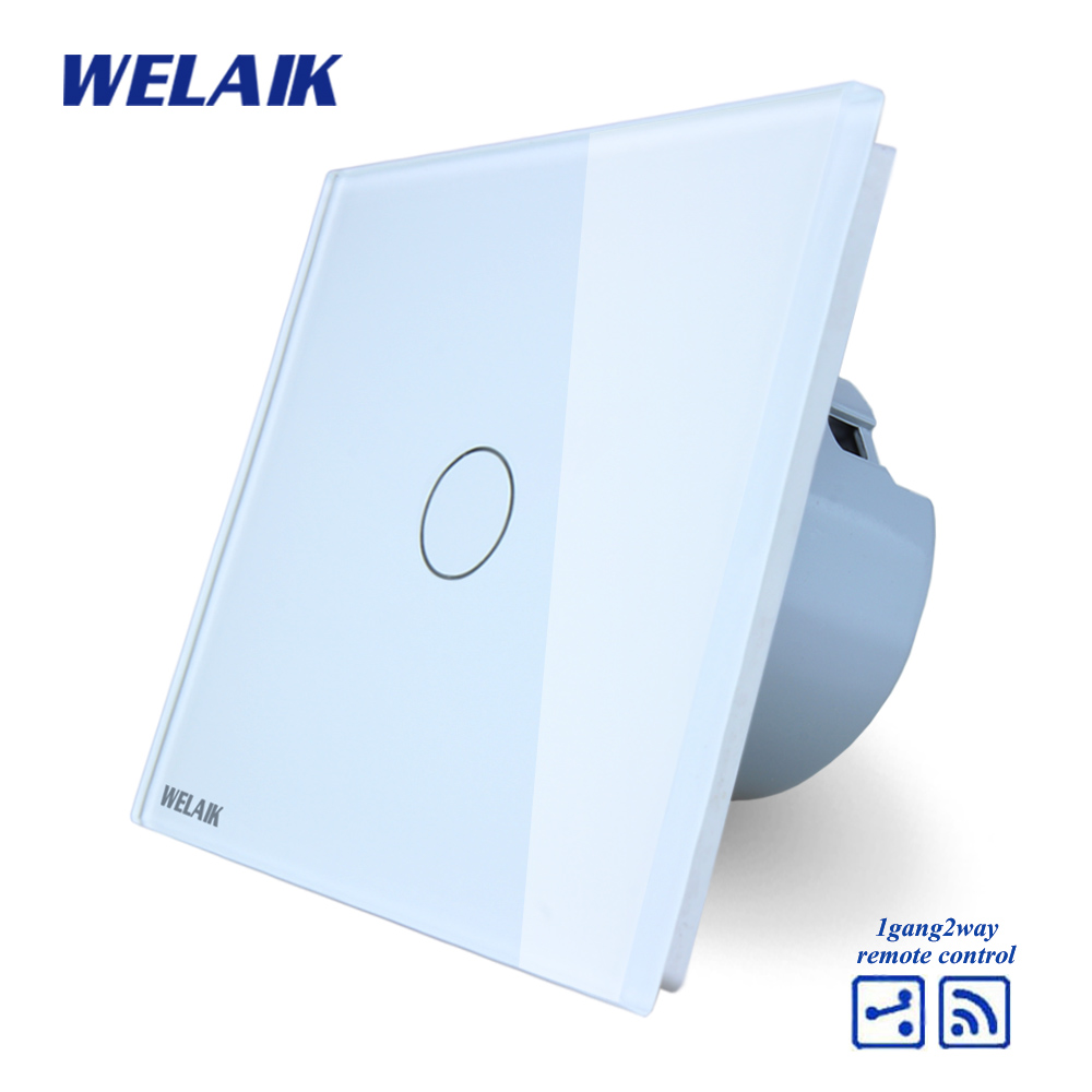 WELAIK Crystal Glass Panel Switch White Wall Switch EU Remote Control Touch Switch Light Switch 1gang2way AC110~250V A1914CW/B mvava 3 gang 1 way eu white crystal glass panel wall touch switch wireless remote touch screen light switch with led indicator