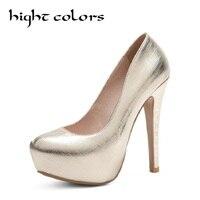 Fashion Women Platform Shoes 2018 New Spring Autumn Bling Women Pumps Thin Heels Sexy Slim Party