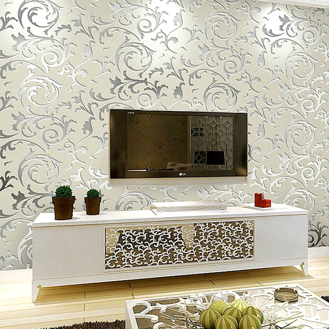 Buy luxury grey silver leaf 3d for Silver wallpaper living room