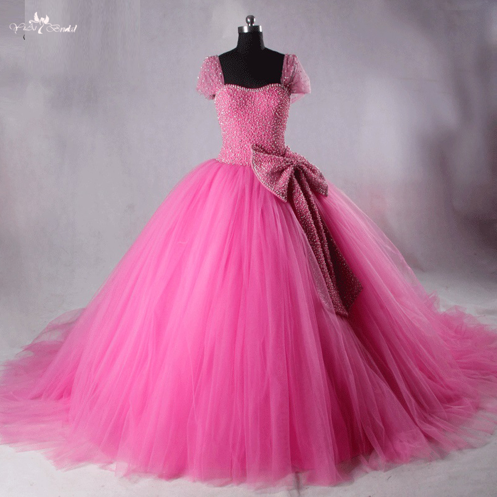 LZF006 Princess Pink Beaded Bows Ball Gown Prom Dress - balazoot review