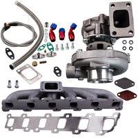 T3T4 T04E Turbo+Oil Line+Exhaust Manifold Kit For Nissan Patrol Safari Y60 GR GQ TB42 Oil for T3T4 T04E T3 T4 A/R .63 1.6L 2.5L