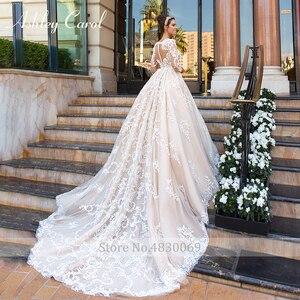Image 2 - アシュリーキャロル高級ビーズレースプリンセスウェディングドレス 2020 v ネック長袖 a ラインカスタマイズされたウェディングドレス vestido デ · ノビア