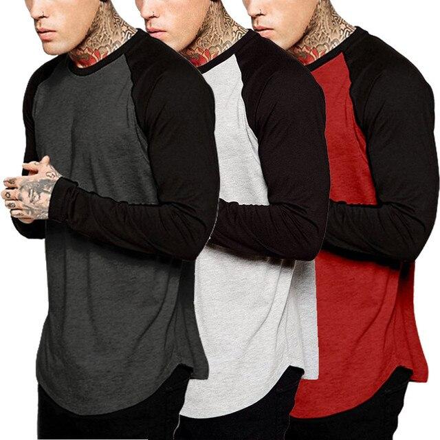 De moda de los hombres Camiseta de manga larga de otoño e invierno Casual Vintage Patchwork blusa nueva llegada de algodón Homme camiseta M-3XL