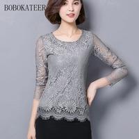 BOBOKATEER Long Sleeve O Neck Plus Size Women Clothing White Lace Blouse Top Gray Shirt Women