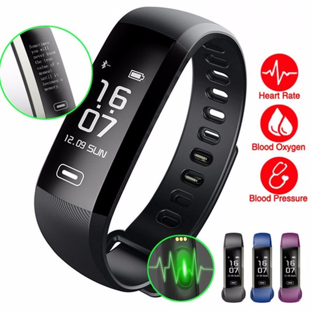 0.96 Inch OLED Display Bluetooth Smart Bracelet Fitness Tracker Heart Rate Monitor Smart Wristband for Android Phones