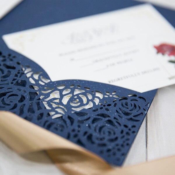 10 Color 1kits Lace Rose Flower Print Pocket Invitations Cards