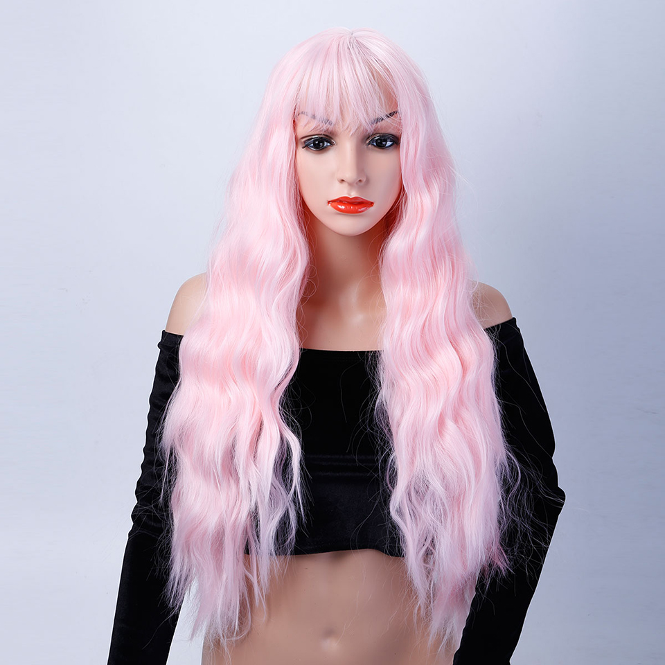 Long Curly Synthetic Hair 26 11 Colors Pink Black Bule Blonde Green Red Cosplay Wigs Heat Resistant Ladies Party AOSIWIG