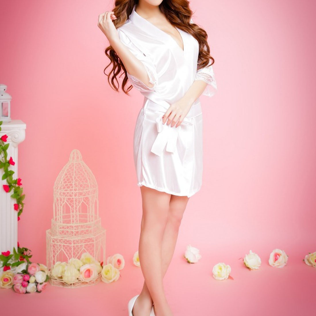 TOP Summer Spring Women Bathrobe Sexy Lingerie Sleepwear Nightgown Bath Robes Black Purple Pink White