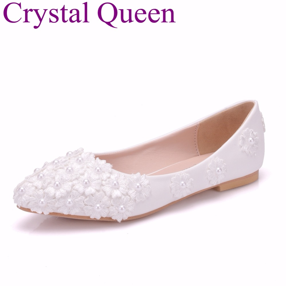 Crystal Queen White Lace Wedding Shoes Flat Heels Pointed Toe Ballet Flats Women Bridal Shoes Party Ladies Flats Plus Size