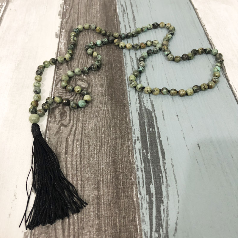 Mala Beads Knotted Necklace For Men African T urquoise Mala Tassel Boho Necklace Gems Necklaces Yoga