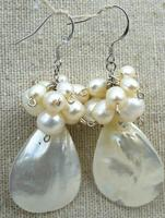 Mother Of Pearl Earrings Sterling Silver Shell Fans Wire Wrapped On Sterling Silver Modern Shell Shape