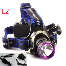 Ultra Bright LED Headlamp L2 LED Headlight 3 Modes Head Light Torch Lamp With AC Car Charger for Cycling Fishing Hunting