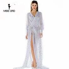Free Shipping Missord 2020 Sexy deep-V long-sleeved printing