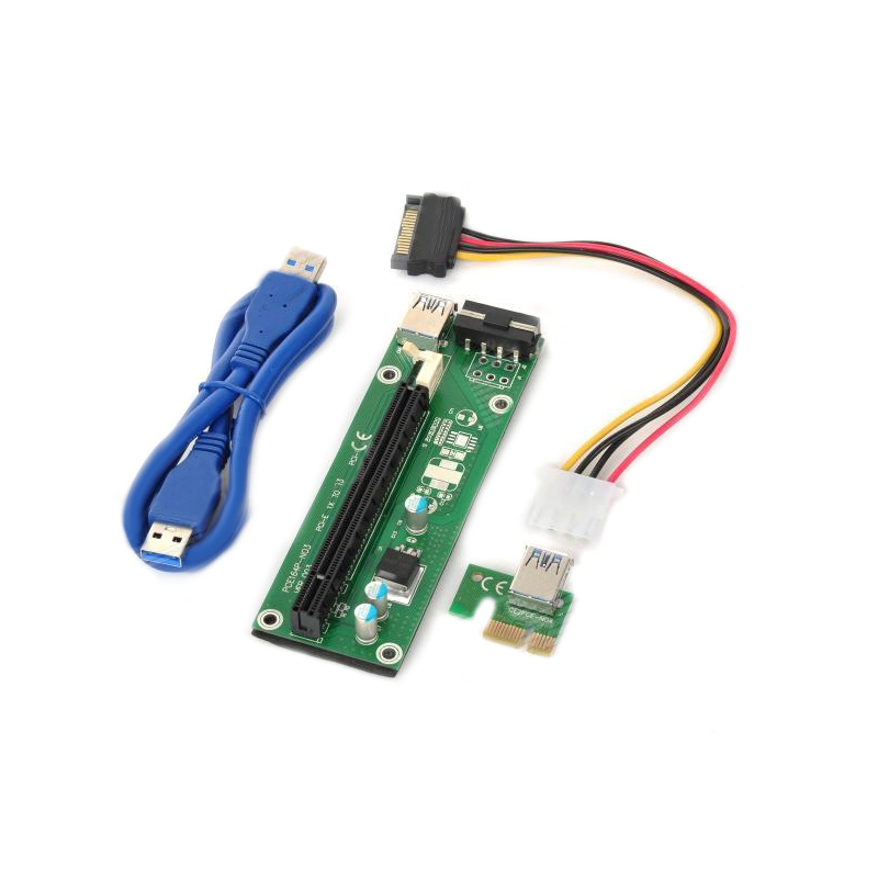 60cm PCI-Express PCI-E 1X to 16X Riser Card Adapter PCIE Extender + USB 3.0 Cable + SATA to 4Pin IDE Molex Power Cord XX